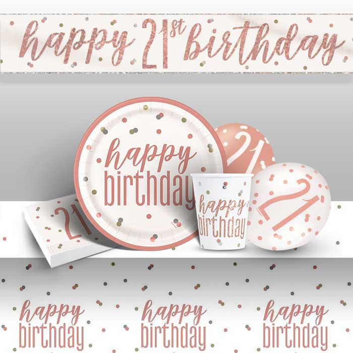 Rose Gold Holographic 21st Birthday 8 to 48 Guest Premium Party Pack - Tableware | Balloons | Decoration