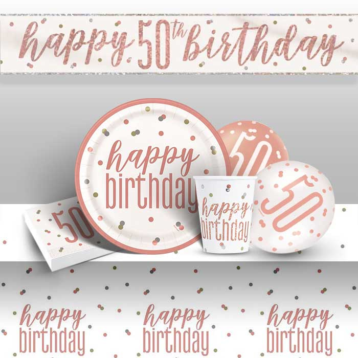 Rose Gold Holographic 50th Birthday 8 to 48 Guest Premium Party Pack - Tableware | Balloons | Decoration