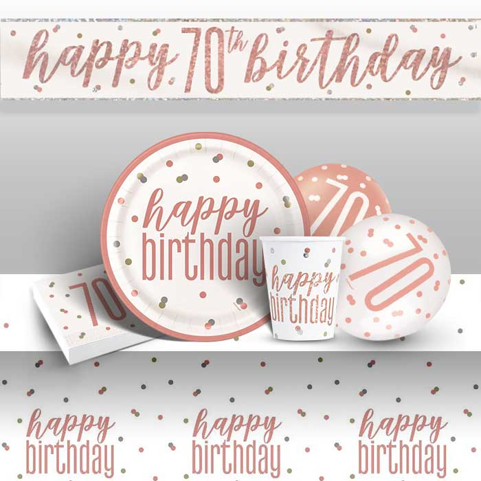 Rose Gold Holographic 70th Birthday 8 to 48 Guest Premium Party Pack - Tableware | Balloons | Decoration