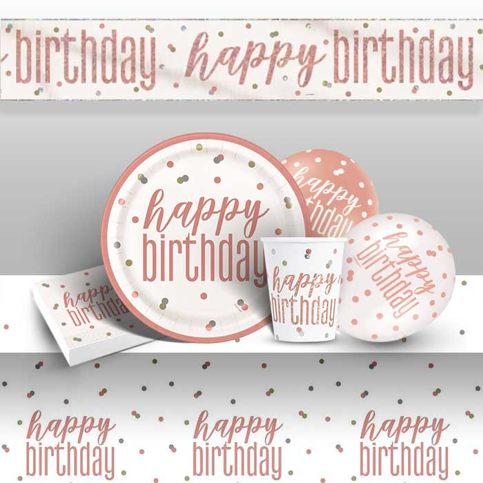 Rose Gold Holographic Happy Birthday 8 to 48 Guest Premium Party Pack - Tableware | Balloons | Decoration
