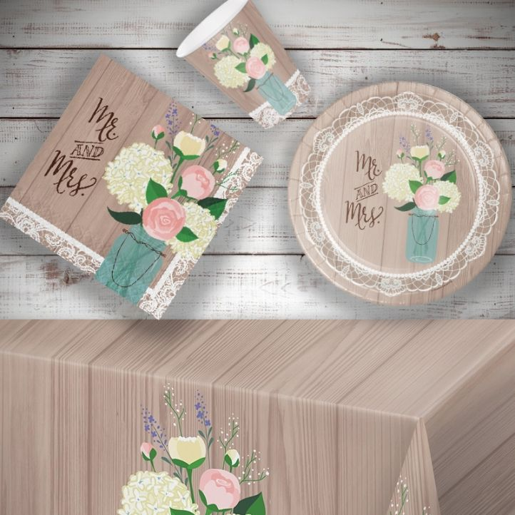 Rustic Wedding 8 to 48 Guest Starter Party Pack - Tablecover | Cups | Plates | Napkins