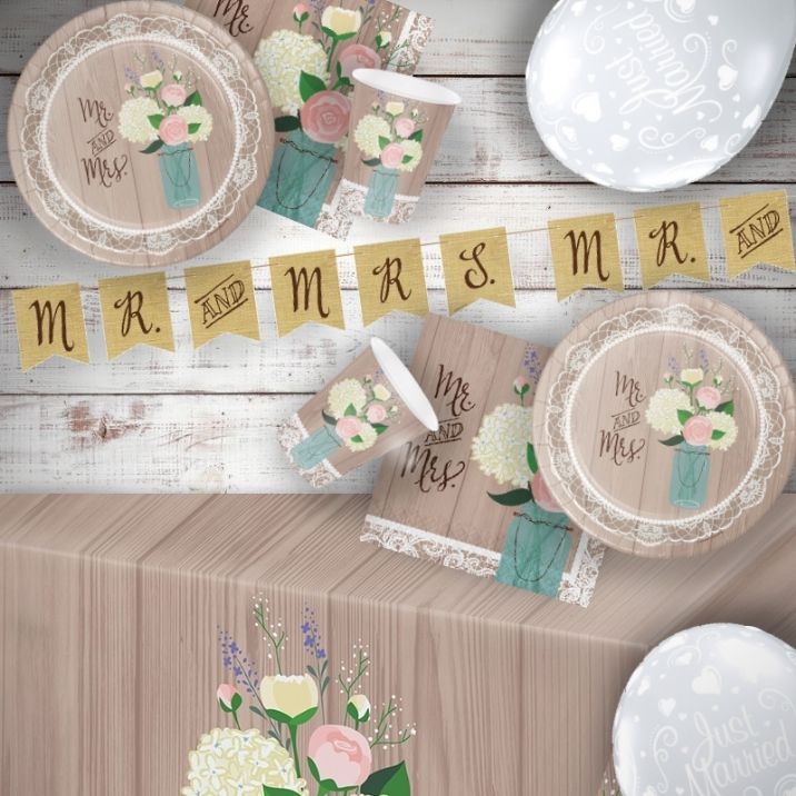 Rustic Wedding 8 to 48 Guest Premium Party Pack - Tableware | Balloons | Decoration