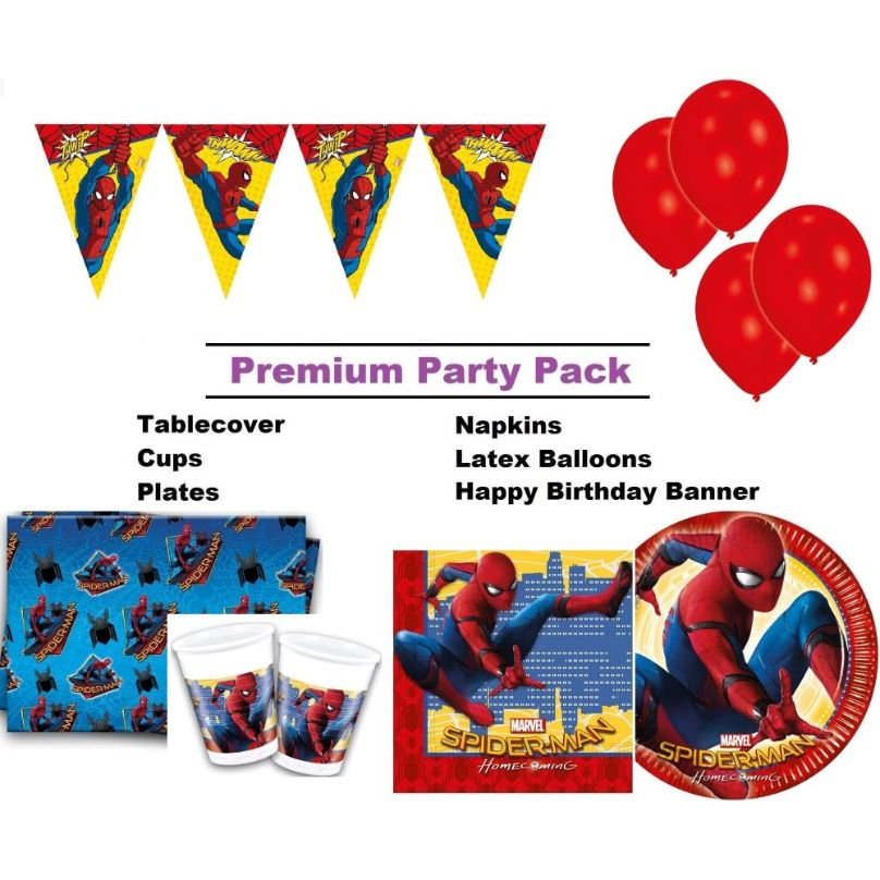 Spiderman Homecoming 8 to 48 Guest Premium Party Pack - Tableware ...