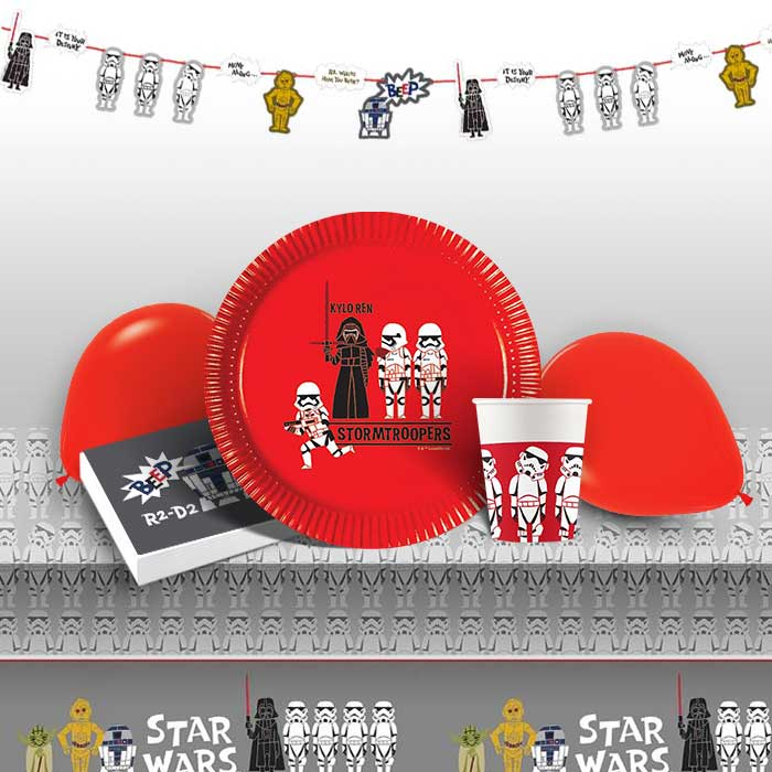 Star Wars Retro 8 to 48 Guest Premium Party Pack - Tableware | Balloons | Decoration