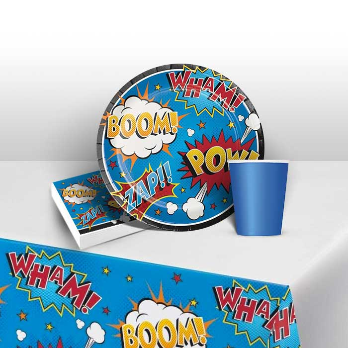 Superhero Slogans Cartoon Party 8 to 48 Guest Starter Party Pack - Tablecover | Cups | Plates | Napkins