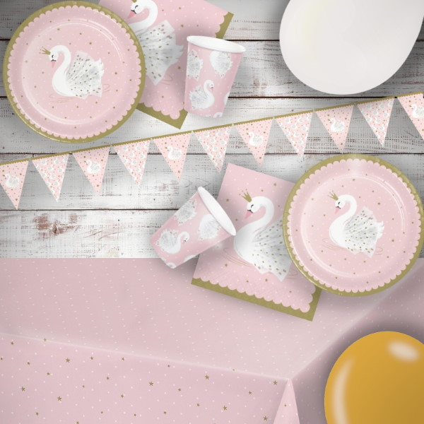 Stylish Swan Premium Party Pack - Tableware | Balloons | Decorations