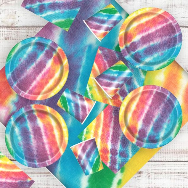 Tie Dye 8 to 48 Guest Starter Party Pack - Tablecover | Cups | Plates | Napkins