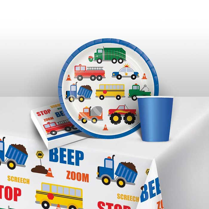 Traffic Jam | Vehicle 8 to 48 Guest Starter Party Pack - Tablecover | Cups | Plates | Napkins