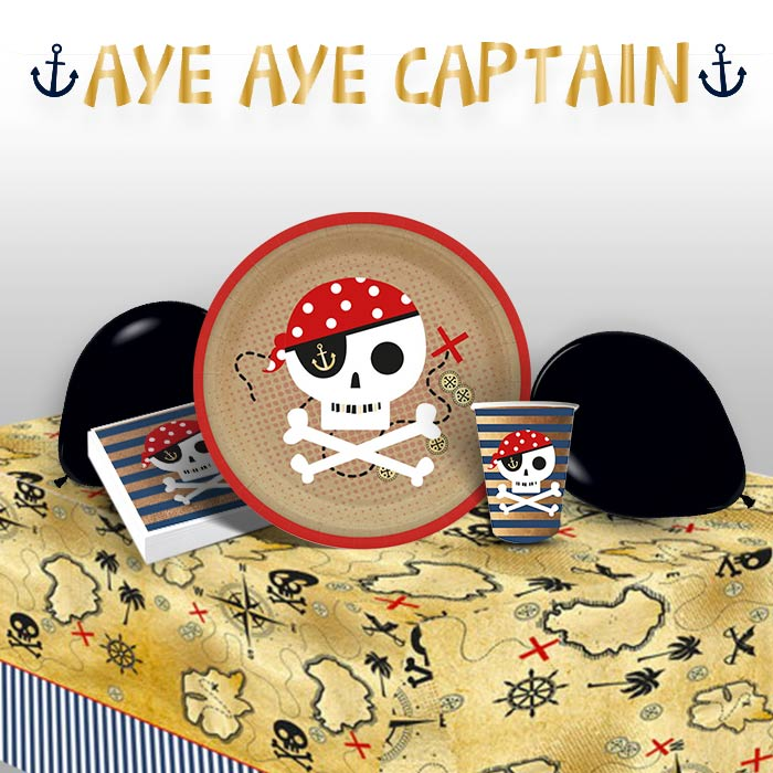 Pirate | Treasure Map Party 8 to 48 Guest Premium Party Pack - Tableware | Balloons | Decoration
