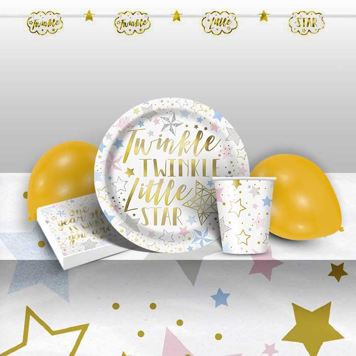 Twinkle Twinkle Little Star 1st Birthday 8 to 48 Guest Premium Party Pack - Tableware | Balloons | Decoration