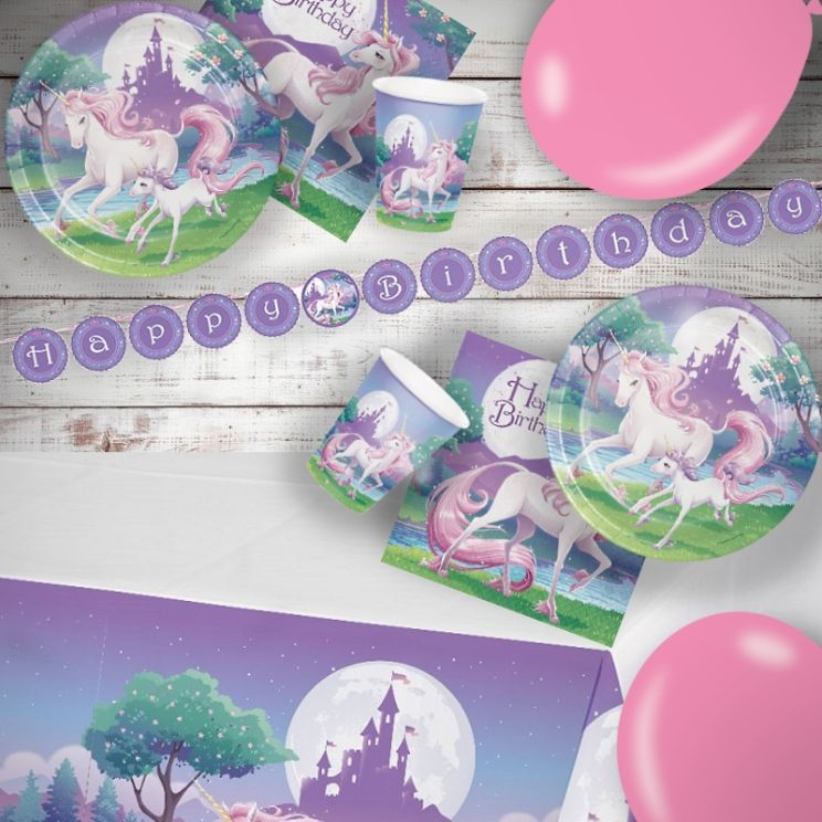 Unicorn Fantasy 8 to 48 Guest Premium Party Pack - Tableware | Balloons | Decoration