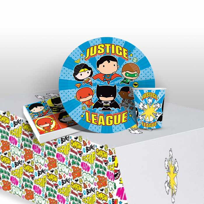 Justice League Cartoon 8 to 48 Guest Starter Party Pack - Tablecover | Cups | Plates | Napkins