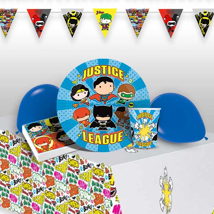 Justice League Cartoon 8 to 48 Guest Premium Party Pack - Tableware | Balloons | Decoration