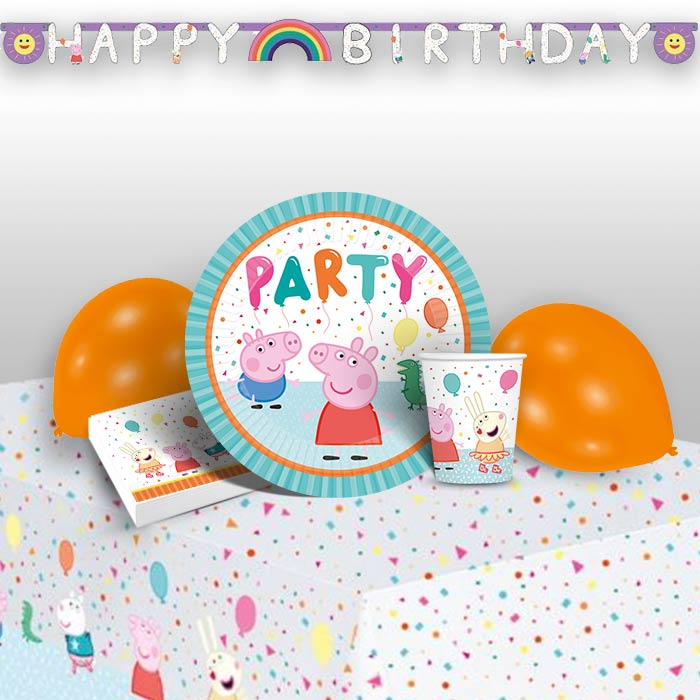 Peppa Pig Rainbow 8 to 48 Guest Premium Party Pack - Tableware | Balloons | Decoration