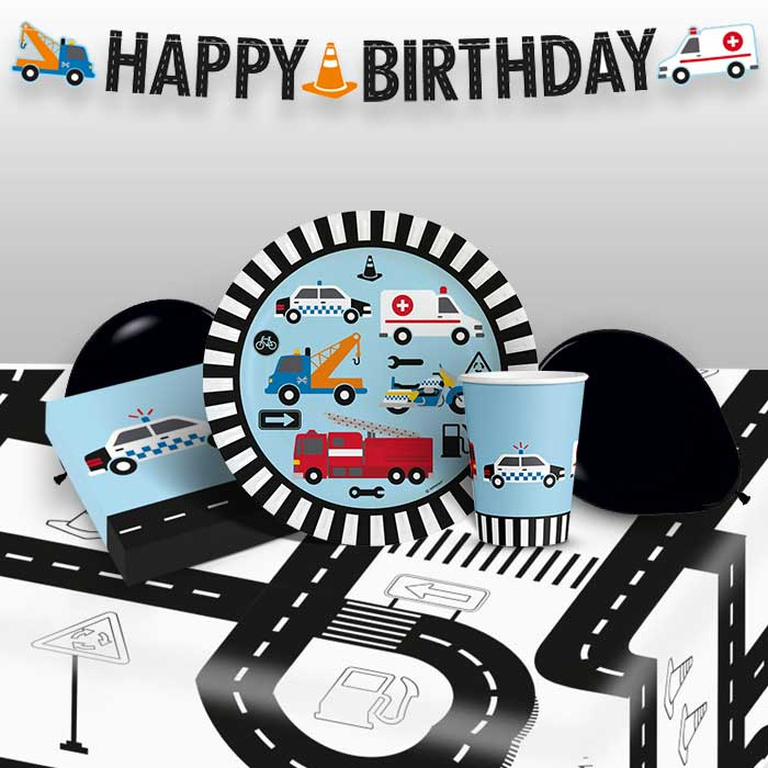 Road Vehicle 8 to 48 Guest Premium Party Pack - Tableware | Balloons | Decoration