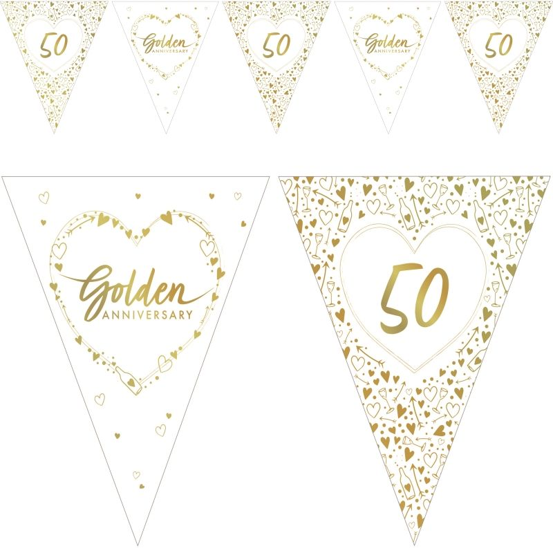 Personalised Anniversary Bunting Golden Silver Ruby Party Decoration Years 50 25
