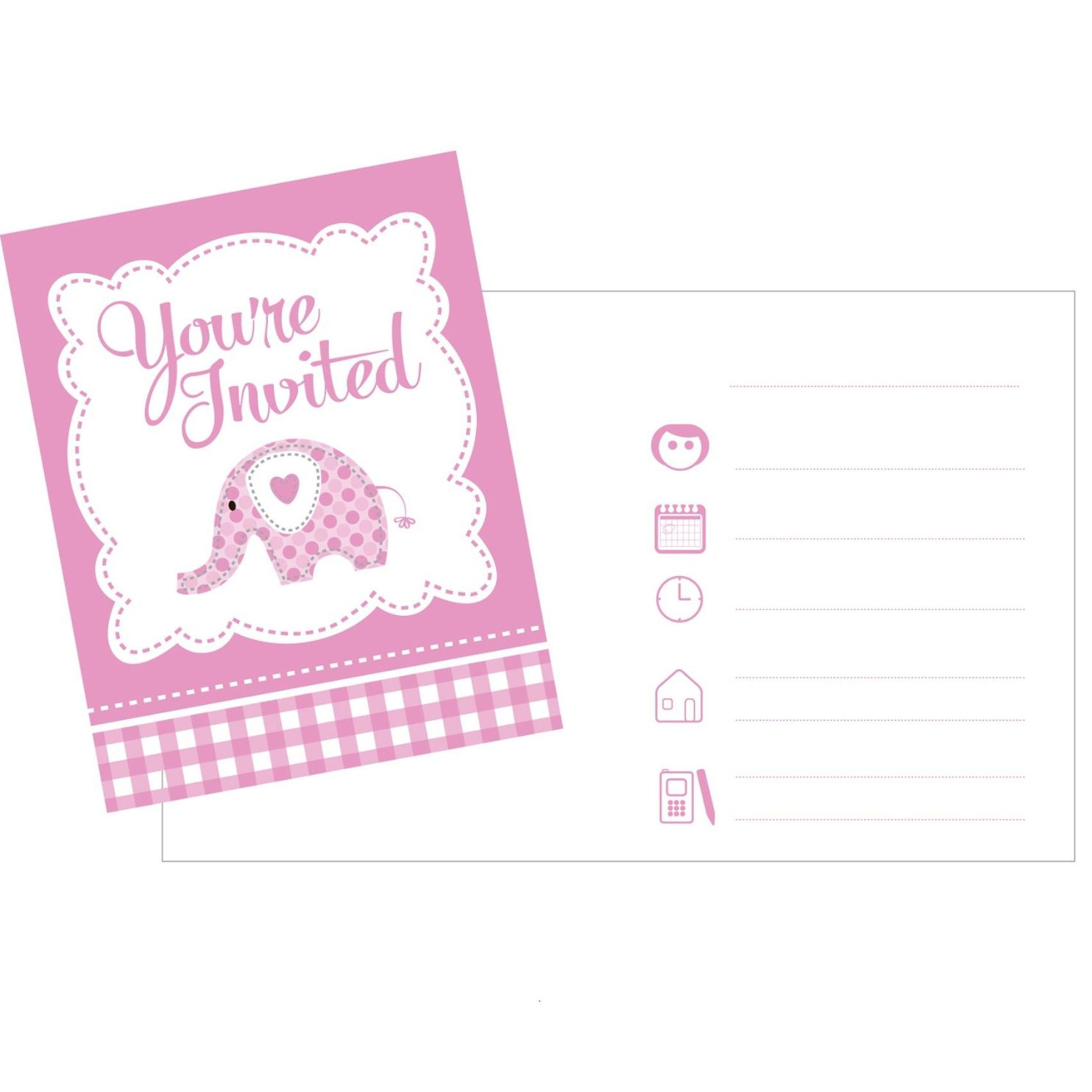 Pink Elephant Christening Party Invitations | Invites