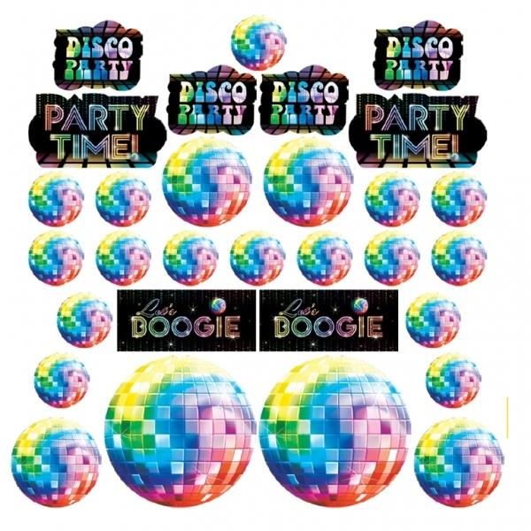 1970's Disco Party Cutout Decoration Set