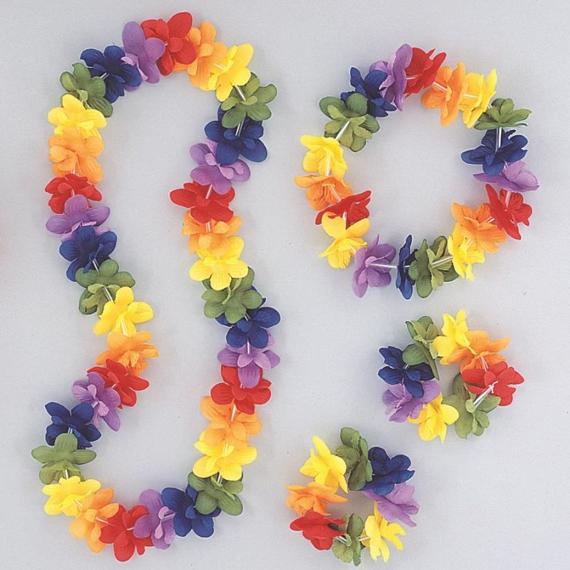 Hawaiian Flower Lei Rainbow Assorted Colours