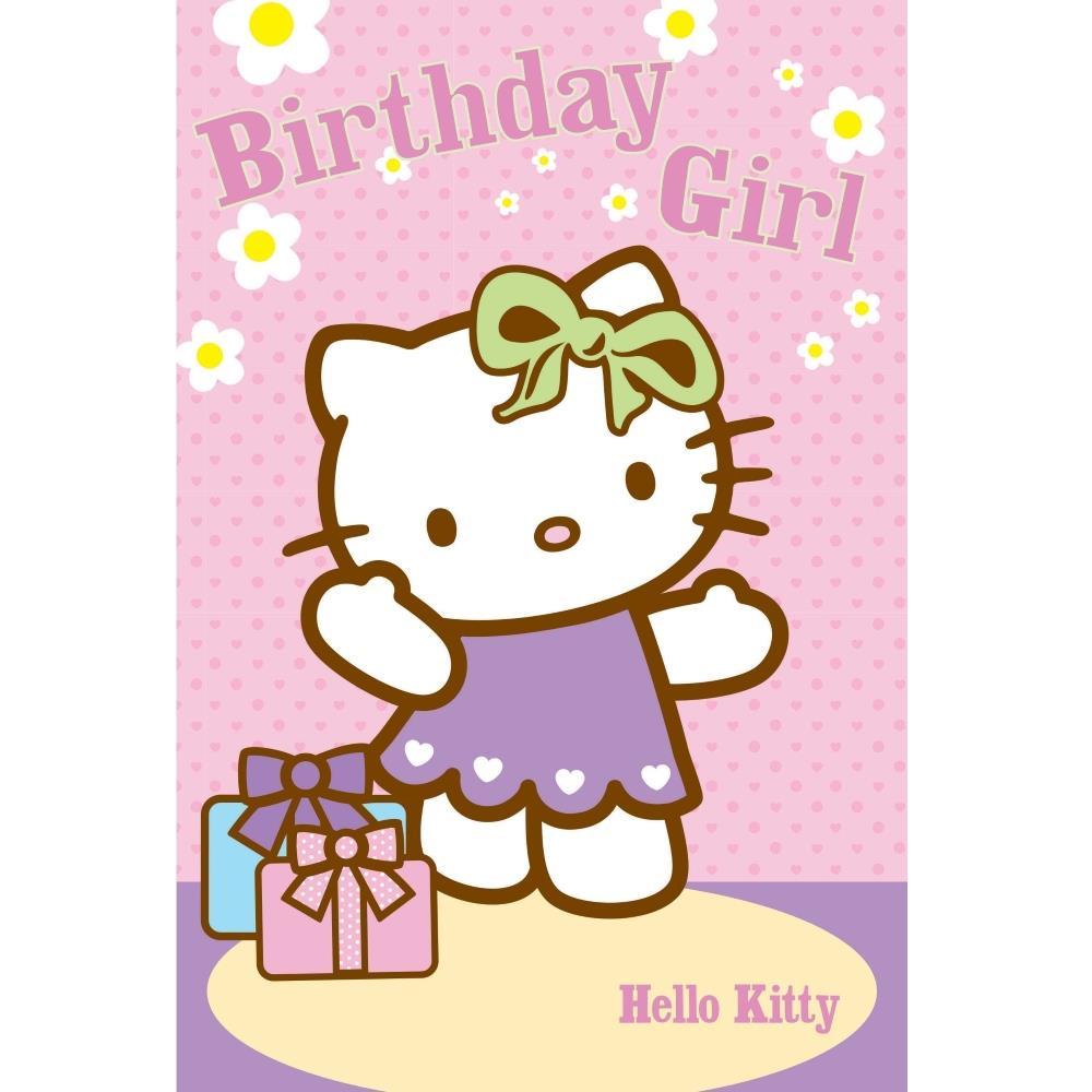 Hello Kitty Green Bow Birthday Greeting Card