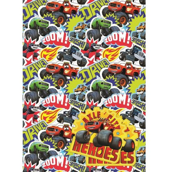 Blaze the Monster Machines Gift Wrap -  2 Sheets, 2 Gift Tags