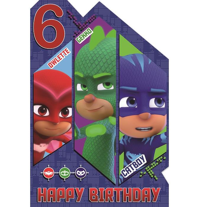 Pj Masks 6th Birthday Greeting Card Buy Online