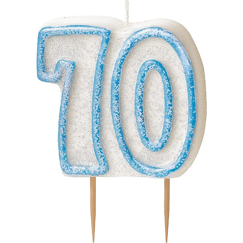 Blue Glitz 70th Birthday Cake Number Candle  | Decoration