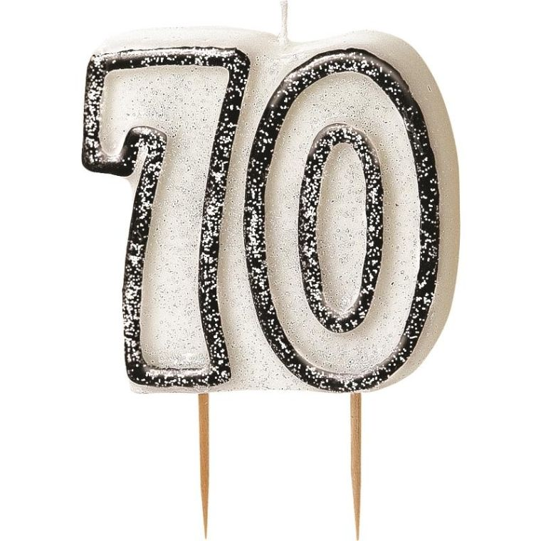 Black Glitz 70th Birthday Party Cake Candle | Decoration