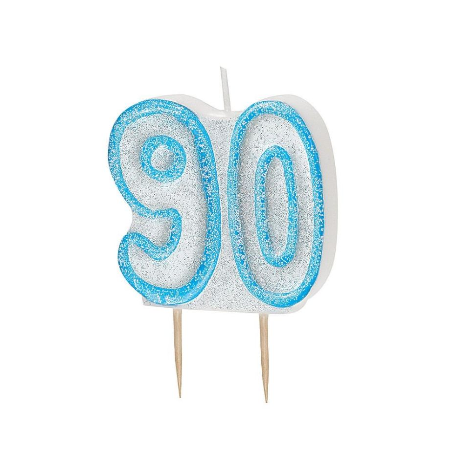 Blue Glitz 90th Birthday Cake Number Candle  | Decoration