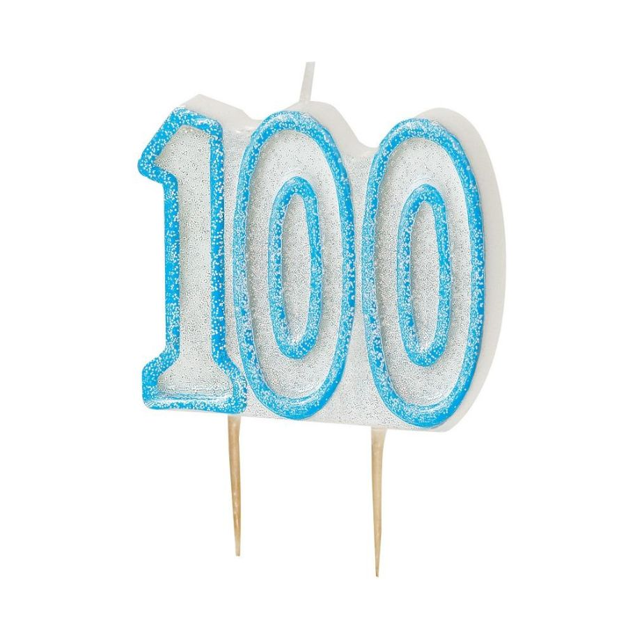 Blue Glitz 100th Birthday Cake Number Candle  | Decoration
