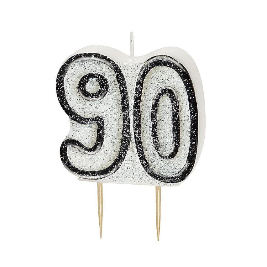 Black Glitz 90th Birthday Party Cake Candle