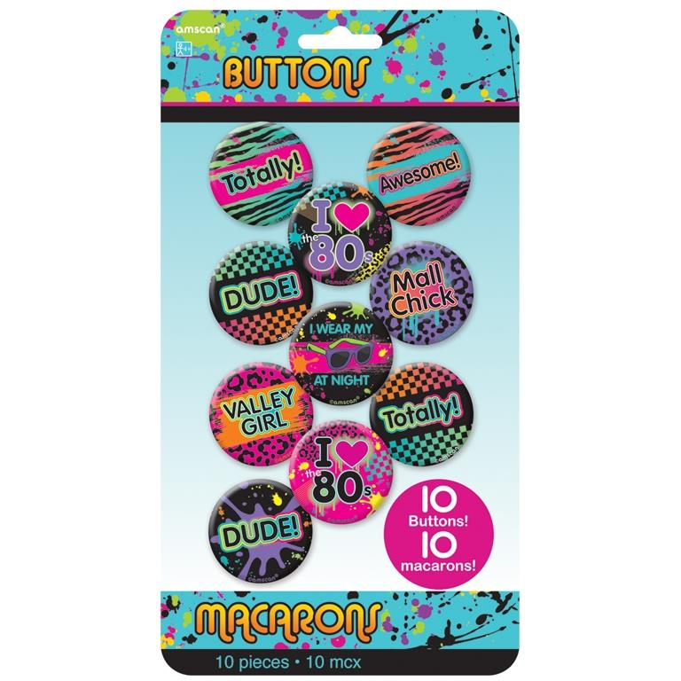 1980's Rad Party Buttons | Badges Party Favours