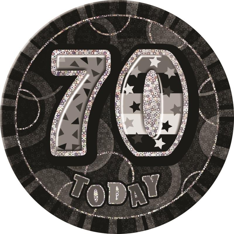 Black and Silver Glitz Party 70th Birthday Badge
