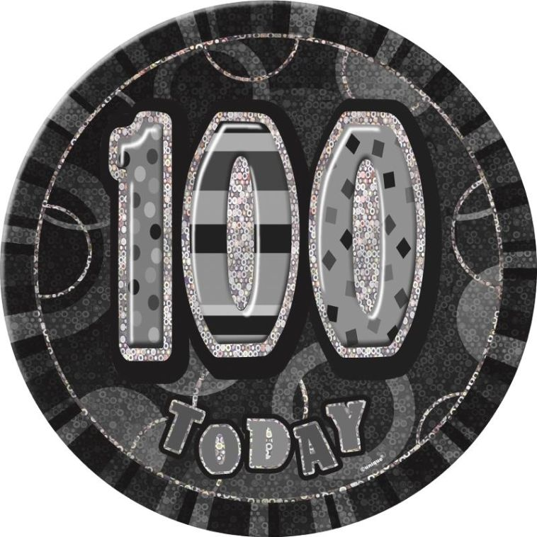 Black and Silver Glitz Party 100th Birthday Badge