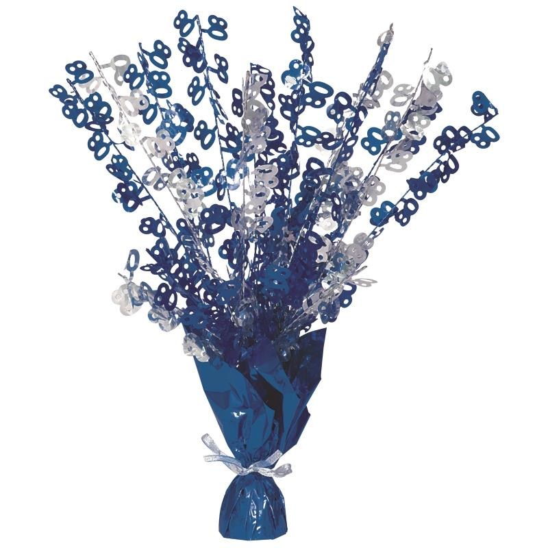 Blue Glitz 80th Birthday Party Table Centrepiece | Decoration