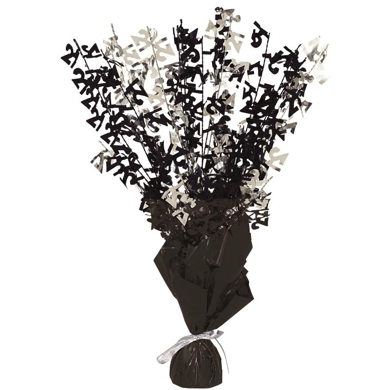 Black Glitz 21st Balloon Weight Table Centrepiece | Decoration