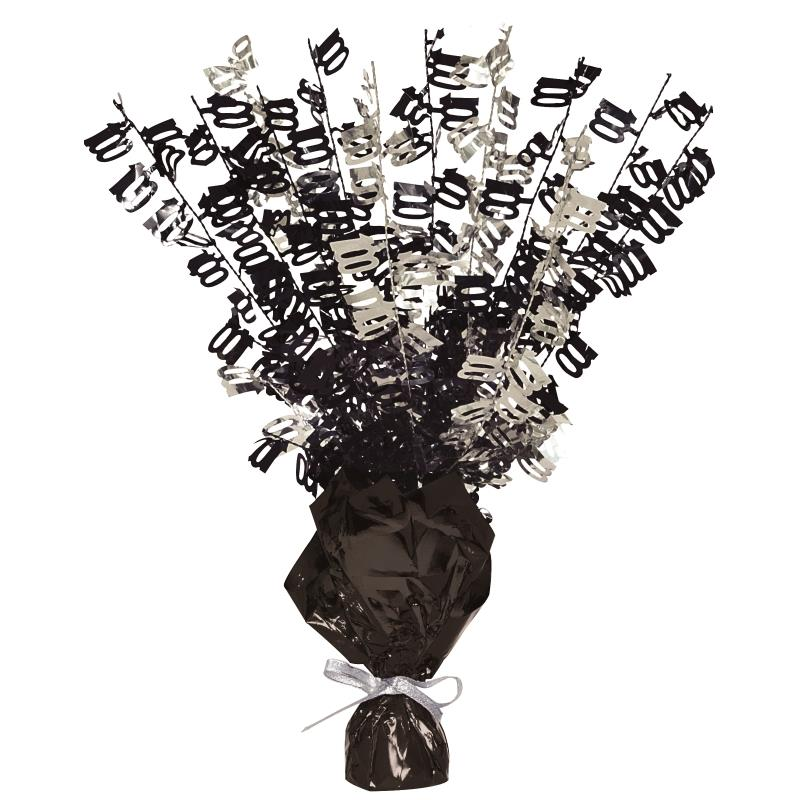 Black Glitz 100th Balloon Weight Table Centrepiece | Decoration