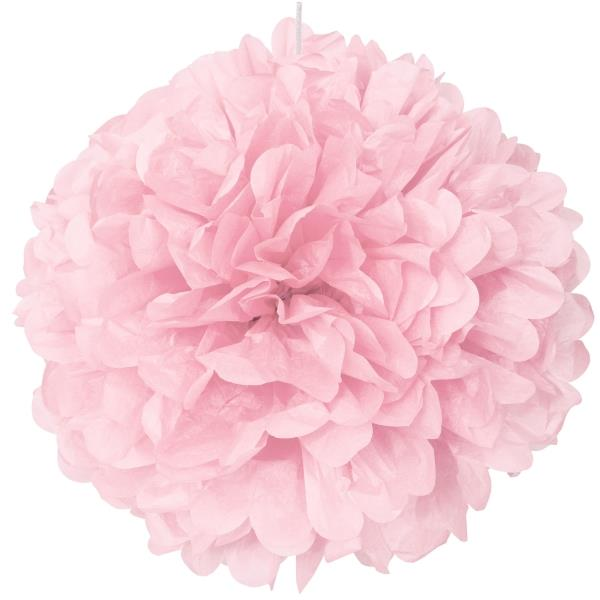 "Lovely Pink 16"" Puff Ball Party Hanging Decorations"
