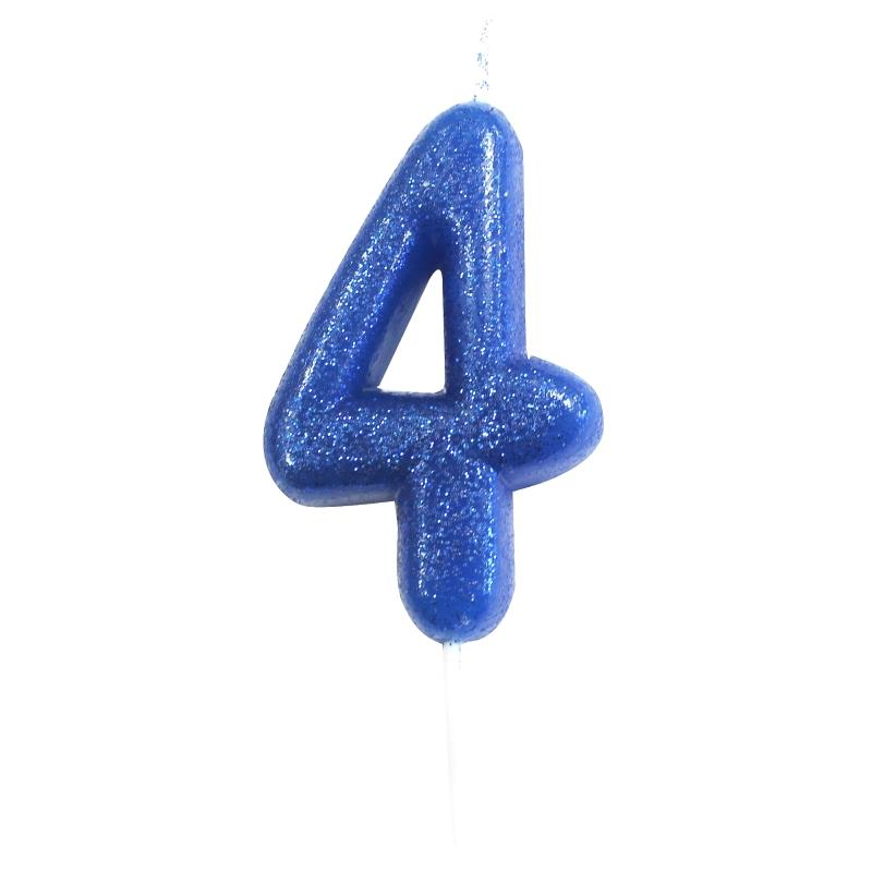 Blue Glitter Number 4 Birthday Cake Candle