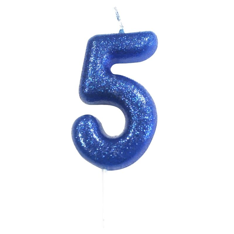 Blue Glitter Number 5 Birthday Cake Candle