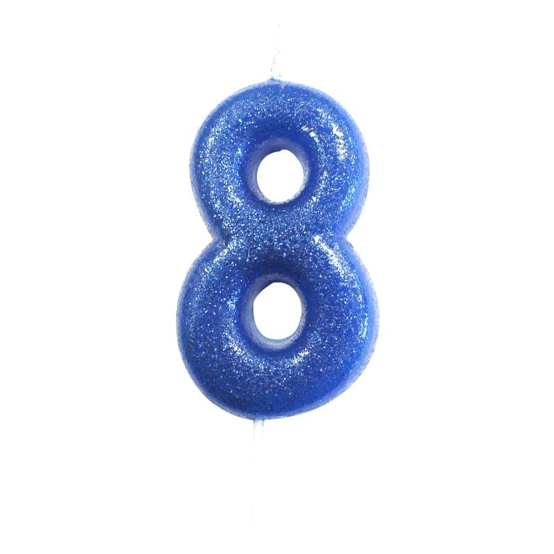 Blue Glitter Number 8 Birthday Cake Candle Decoration