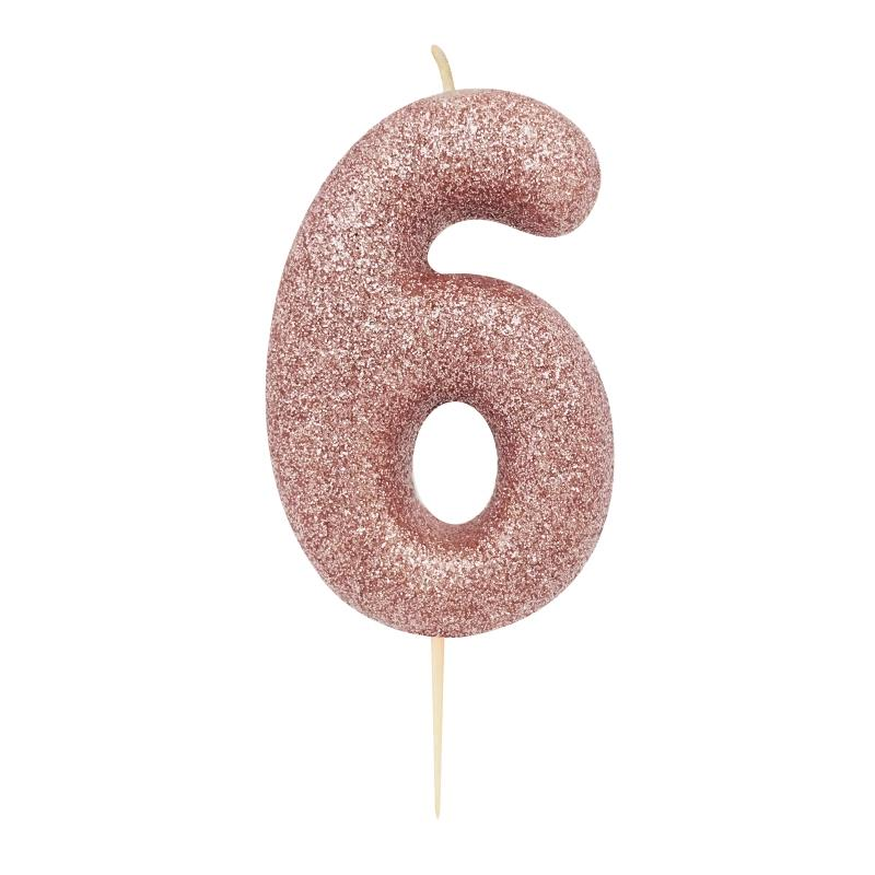 Rose Gold Glitter Number 6 Birthday Cake Candle