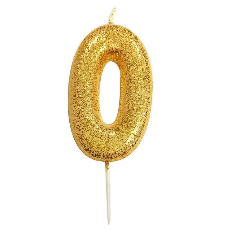 Gold Glitter Number 0 Birthday Cake Candle