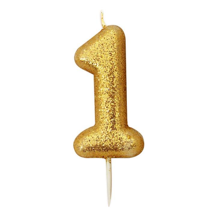 Gold Glitter Number 1 Birthday Cake Candle Decoration