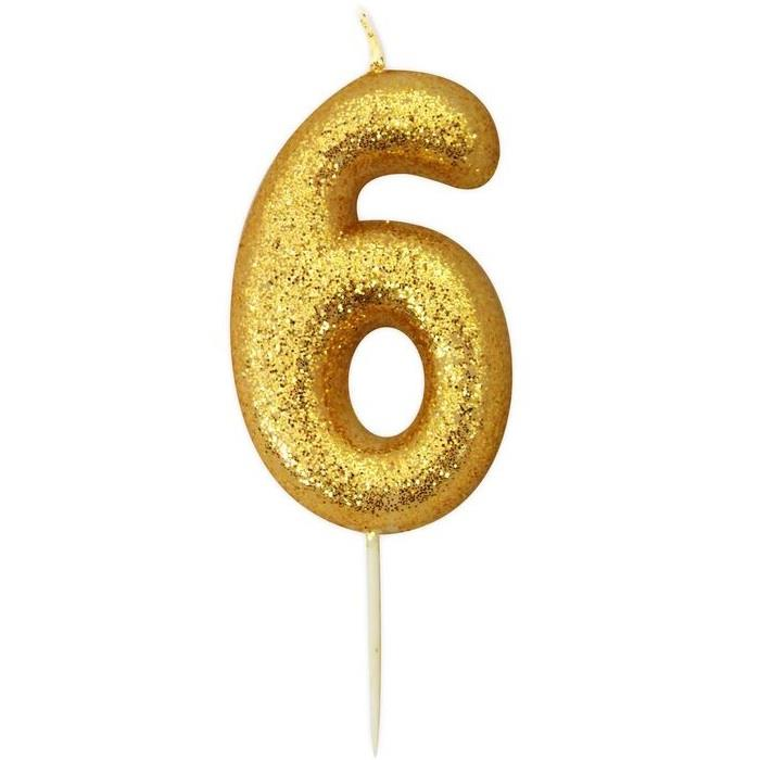 Gold Glitter Number 6 Birthday Cake Candle Decoration
