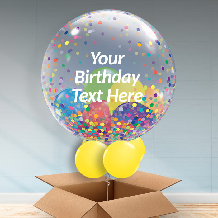 Personalisable Inflated Multicoloured | Rainbow Confetti Dots | Birthday Balloon Filled Bubble Balloon in a Box