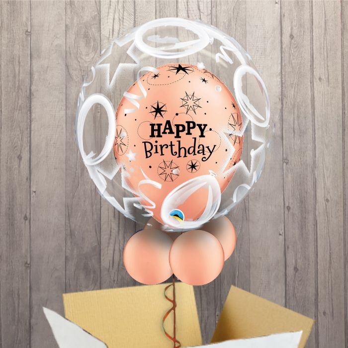 Personalisable Inflated Rose Gold Sparkle Happy Birthday | Birthday Balloons and Stars Balloon Filled Bubble Balloon in a Box