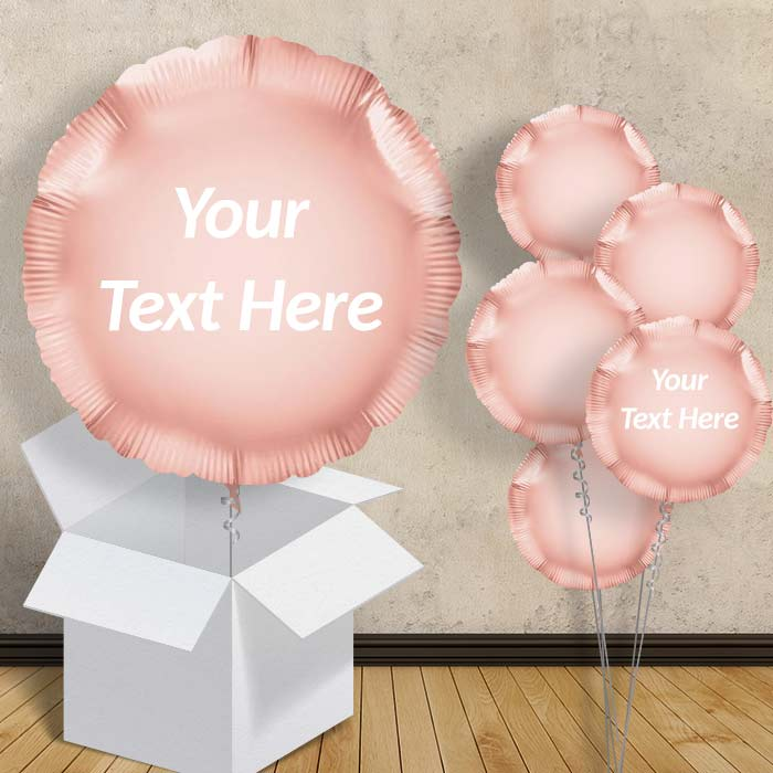 "Personalisable Rose Gold Circle 18"" Foil Balloon in a Box"