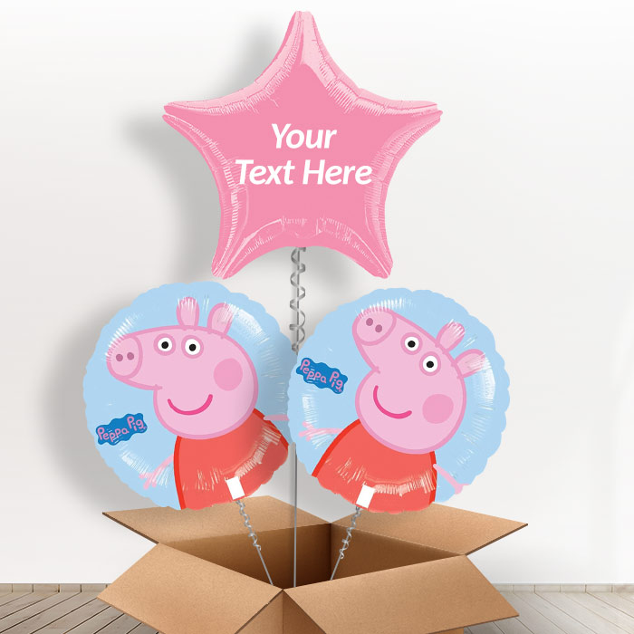 Personalisable Inflated Peppa Pig 3 Balloon Bouquet in a Box Gift