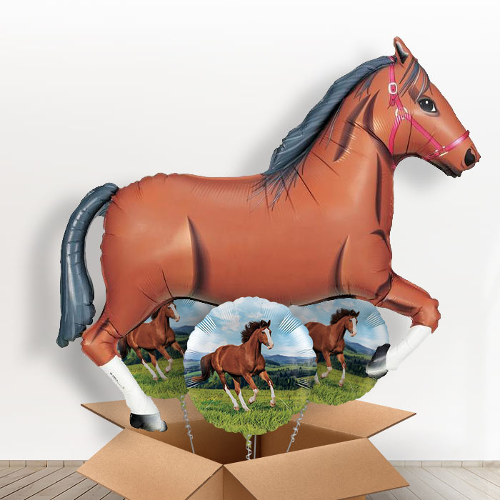 Dark Brown Horse Giant Shaped Balloon in a Box Gift